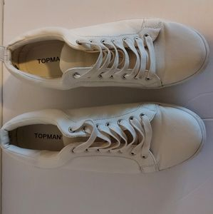 Topman white lace low top sneakers size 43
